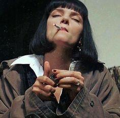 B E L K I S ~``'s favorite images from the web Mia Wallace, Women Smoking, Girl Smoking, Film Aesthetic, Aesthetic Girl, Retro Aesthetic, Pulp Fiction, Image Film, Uma Thurman