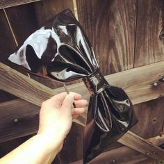 Black Faux Patent Leather PVC Big Bow Headband Made to Order