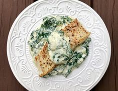 Gourmet Girl Cooks: Pan Seared Halibut in Brown Butter & Creamed Dijon Spinach