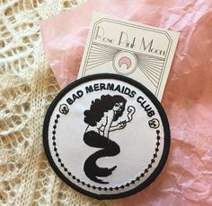 Bad Mermaids Club iron-on patch designed by Rose Pink Moon.  This 3 patch is perfect for denim jackets, tshirts, canvas bags, or your boyfriend's motorcycle jacket.