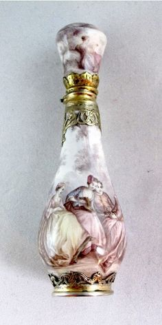 Beautiful Antique Hand painted French perfume bottle ~