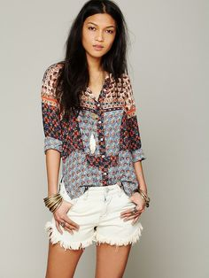 Free People FP ONE Mixed Print Top xs