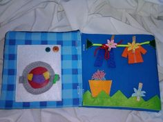 Textilní knížka EMAMA - dvojstránka pračka a prádl