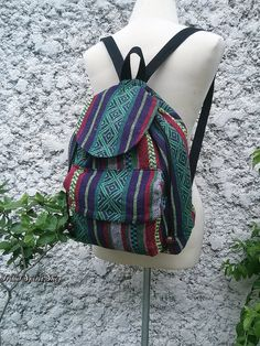 Ikat Aztec Backpack Boho Tribal Woven Hippies Tapestry Ethnic Rucksack Hobo Gypsy  Nepali Pattern Bags Purse Native Design For School Chic 38124e5d08