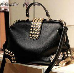 Barato Mulheres bolsa de strass rebite bolsa de couro PU, Compro Qualidade Bolsas de Ombro diretamente de fornecedores da China: