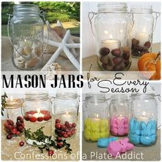{Practically Free} Mason Jar Candles for Every Season - Did you know that some brands of spaghetti sauce comes in {free} Mason jars? I have saved mine and reuse…