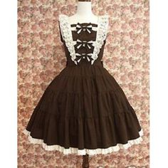 Cotton Brown Lolita Dress Sleeveless With Lace