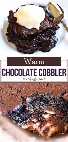 Warm Chocolate Cobbler is the perfect Christmas dessert or treat! It features moist chocolate cake floating on top of a caramel-streaked, coffee-laced, molten chocolate sauce. Add this easy comfort food dessert recipe on your holiday baking list! Chocolate Cobbler, Chocolate Recipes, Molten Chocolate, Gooey Chocolate Cake, Easy Chocolate Desserts, Chocolate Chips, Diy Dessert, Quick Dessert Recipes, Quick Simple Desserts