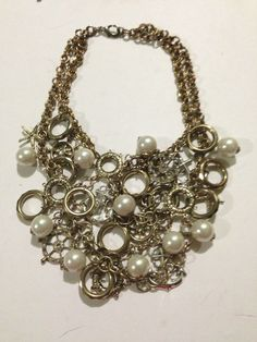 Betsey Johnson Nautical Gold-And Silver ,Anchors, Faux Pearl Necklace Rare HTF #BetseyJohnson #Statement