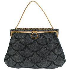 Black Scallop Beaded and Enameled Gold-tone Evening Bag | From a collection of rare vintage evening bags and minaudières at https://www.1stdibs.com/fashion/handbags-purses-bags/evening-bags-minaudieres/