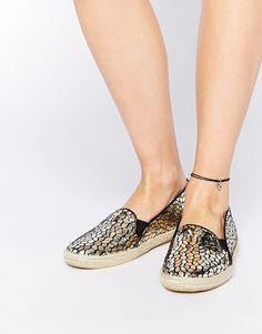 Supertrash Alisa Gold Snake Effect Espadrille Shoes