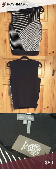"""Vince Camuto Chic black top, NWT ~~Vince Camuto Chic rich black top ~~designs on front are piped, raised but soft ~~size medium, bust measures 17"""" unstretched, length 24"""", lots of stretch! ~~82% cotton, 18% nylon ~~hand wash, dry flat ~~NWT Vince Camuto Tops Blouses"""