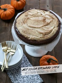 Hot Cocoa Brownie Cake with Pumpkin Marshmallow Frosting + The Better Homes and Gardens New Cook Book Giveaway