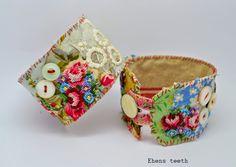 hens teeth: Hello, I hope you have had a wonderful and happ. Fabric Bracelets, Handmade Bracelets, Handmade Jewelry, Cuff Bracelets, Bangles, Textile Jewelry, Fabric Jewelry, Jewellery, Mixed Media Jewelry