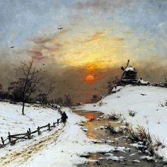 Painting Snow, Winter Painting, Light Painting, Watercolor Landscape, Landscape Art, Landscape Paintings, Classic Paintings, Beautiful Paintings, Winter Szenen