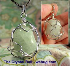 free form aquamarine tumble polished stone in handmade fine silver wire wrapped pendant