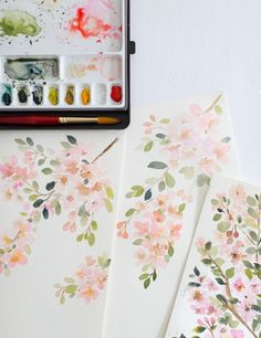 ▷ 1001 + ideas and techniques to make an easy watercolor painting - flowering branches in watercolor with soft shades, watercolor painting floral arrangement -
