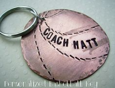 Basketball Key Chain, #personalized & HandStamped Rustic copper with sterling silver, affordable gift, by deborahmcgovernjewelry on etsy, $22.50