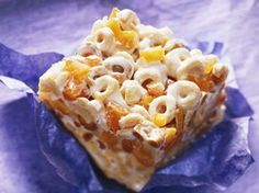 Peach-Cheerio Bars - (gonna make these with the new Caramel flavored Cheerios) .. they should send me free cereal. lol.