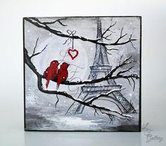 Original Canvas Painting Love Birds Painting Birds on Wire ...