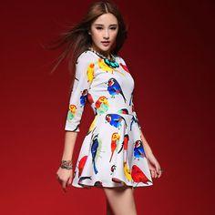 2014 spring women's fashion printing dress bird O-Neck A-Line elegant slim basic skirt pattern one-piece dresses Free shipping $16.00
