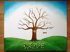 Wedding tree V Wedding gift Guestbook Fingerprint tree by JulsiArt
