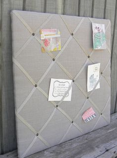 Upholstered french memo board Linen Pin Board by MyPerch on Etsy, $80.00