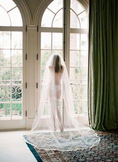 Bridal Boudoir - Love the window light and the long veil.