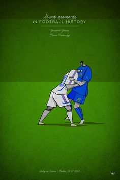 great moments in football history series illustration Zinedine Zidane Marco Matterazzi head-butt germany world cup 2006