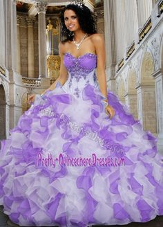 Romantic Sweetheart Pick Ups White and Purple Quinceanera Dresses with Ruffles