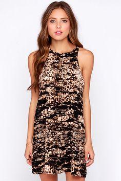 Bleacher's Pet Black and Brown Print Shift Dress at Lulus.com!