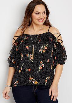 plus size floral lace up cold shoulder blouse | maurices