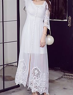 Women's+Going+out+Boho+Swing+Dress,Embroidered+V+Neck+Maxi+¾+Sleeve+White+Rayon+Summer+–+USD+$+27.99