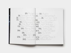 Table of contents in Artist Book