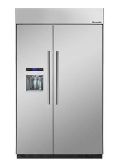 """Thermador 48"""" Built In Side By Side Refrigerator: Stainless Steel - With Masterpiece Handle"""