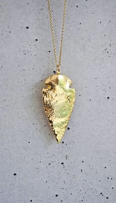 24k Gold Arrowhead Necklace by shopkei on Etsy, $52.00