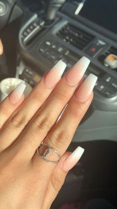 65 the unique French ombre acrylic coffin nails are amazing 4 welcomemy . - 65 the unique French Ombre acrylic coffin nails are amazing, 4 welcomemyb … – 65 the unique Fre - White Acrylic Nails, Best Acrylic Nails, White Nails, Tumblr Acrylic Nails, French Tip Acrylic Nails, French Acrylics, Acrylic Tips, French Fade Nails, Faded Nails