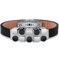 Mens Stainless Steel and Leather Bracelet with Black and Silver Tone Geometric Shapes Peora. $29.99. Save 80% Off!