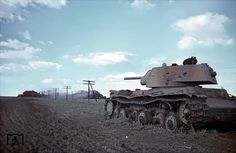 Destroyed KV-1 model 1940 with 76,2 mm F-32 gun in the area of Uman, July 1943 (probably destroyed in '41).