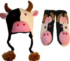 Agan Traders Wool Fleece Animal Hat Mitten Set- COW One Size « Clothing Adds for your desire