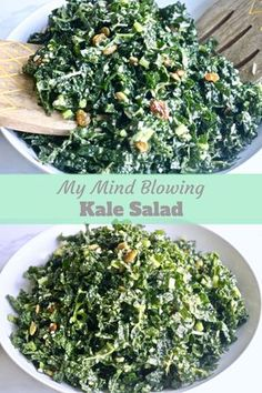 Healthy Meals Mind Blowing Kale Salad- Pinch Me Good - Tangy, crunchy, full of incredible lemon flavor mixed with the amazing superfood KALE! This recipe is the best one you will find for Kale salad. Kale Salad Recipes, Diet Recipes, Vegetarian Recipes, Cooking Recipes, Healthy Recipes, Recipes With Kale, Kale Salads, Kale Apple Salad, Warm Kale Salad