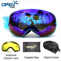 COPOZZ brand ski goggles 2 double lens UV400 anti-fog spherical ski glasses skiing men women snow goggles GOG-201+Lens+Box Set #clothing,#shoes,#jewelry,#women,#men,#hats,#watches,#belts,#fashion,#style