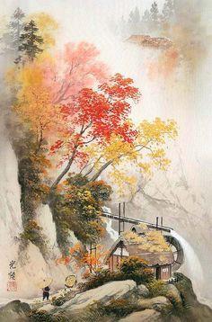 Koukei Kojima. Два путника и водяная мельница