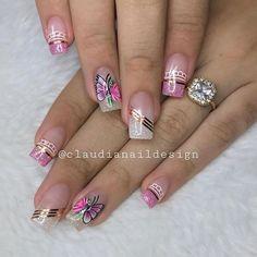 Cute Nail Art Designs, Beautiful Nail Designs, Manicure Nail Designs, Nail Manicure, Girls Nails, Pink Nails, Luminous Nails, Acrylic Nail Tips, Creative Nails