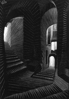 Covered Alley in Atrani, [Coast of Amalfi]  November 1931  Wood engraving    By M. C. Escher