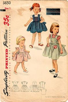 1950s Simplicity 3650 Vintage Sewing Pattern Toddler's