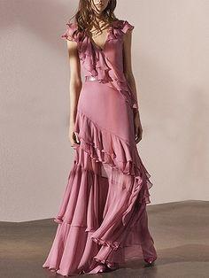 Shop Pink Chiffon V-neck Layered Ruffle Trim Chic Women Maxi Dress from choies.com .Free shipping Worldwide.$96.99