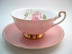 Antique Shelley Tea Cup And Saucer Dusty Pink by AntiqueAndCrafts