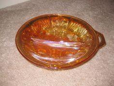 Vintage Amber Gold Carnival Glass Divided Dish, Killarney pattern.......13.18 on etsy