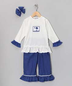 Take a look at this Navy South Carolina Ruffle Pants Set - Infant, Toddler & Girls by Molly Pop Inc. on #zulily today!